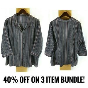 Apt 9 Striped Button Down Career Top